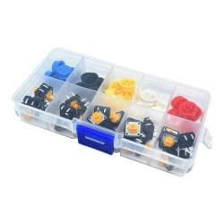 Pack 25 Pulsadores con Cubierta Plastica de Color y Caja Organizadora