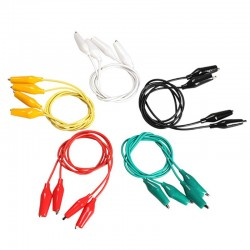 Pack de 10 Cables Tipo Pinza Caimán Colores Largo 50cm