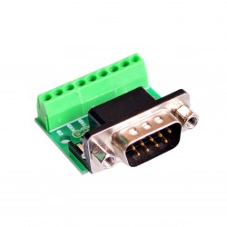 Conector Terminal PCB DB9 Serial RS232 Macho con Borneras