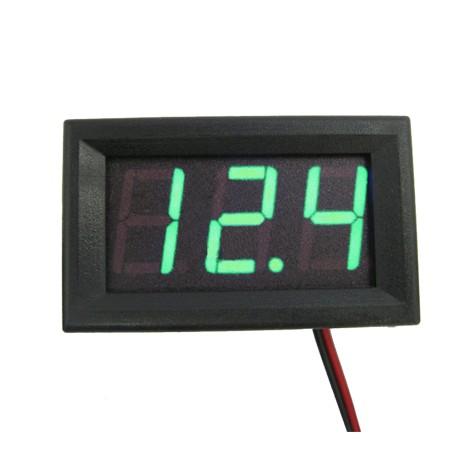 Voltímetro de Panel LED Verde para Chasis con Rango 0-30 VDC
