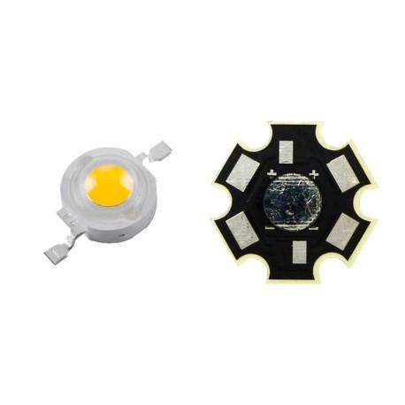 LED High Power 1 Watt Blanco Frio con Base Disipador Tipo Estrella