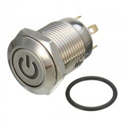 Pulsador Metálico 12V con Indicador LED Color y Símbolo de Encendido