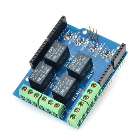 Shield Arduino 4 Canales Relé con Borneras