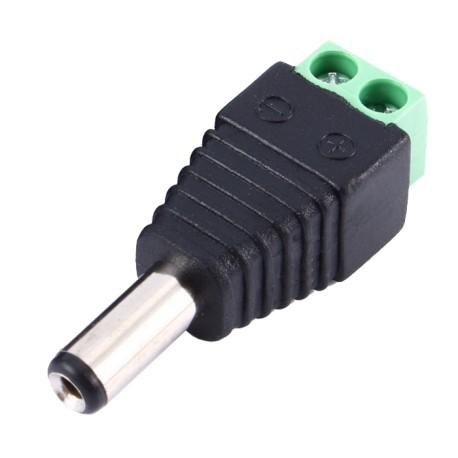 Conector Alimentación Plug Macho DC Con Borneras 2.1x5.5mm