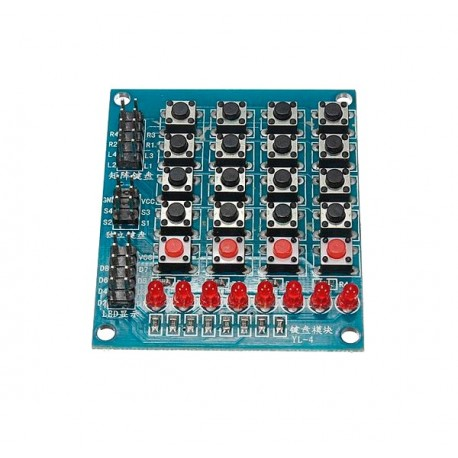Teclado Matricial 4x4 con 4 Botones adicionales y 8 LEDs