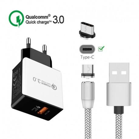 Cargador USB de Pared Quick Charger 3.0 18W 5V 3A con Cable USB C