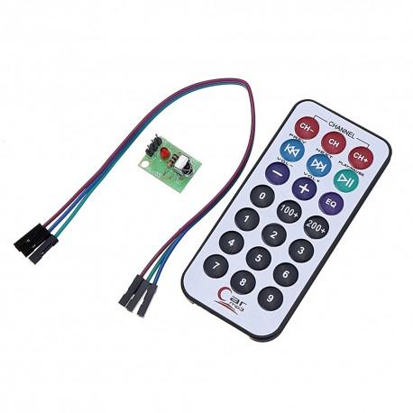 Kit Control Remoto IR 21 Botones con Receptor Infrarrojo HX1838