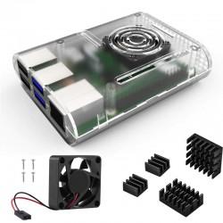 Caja Case Raspberry Pi 4 con Disipadores y Ventilador Color Negro Blanco y Transparente