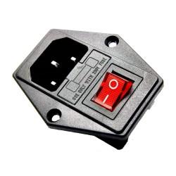 Zócalo Fuente de Poder Conector C14 con Porta Fusible e Interrutor 3 Pines