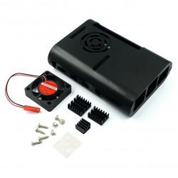 Caja Case Raspberry Pi 4 con 3 Disipadores y Ventilador Color Negro Blanco y Transparente