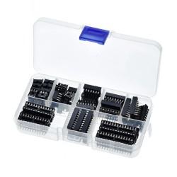 Pack Set Juego de 66 Zócalos Base para Circuito Integrado DIP 6P 8P 14P 16P 18P 20P 24P 28P con Caja