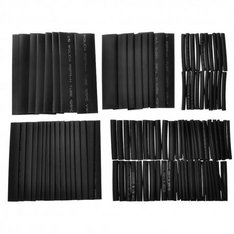 Pack 127pcs Tubos Termocontraible Color Negro 7 Diferentes Diámetros