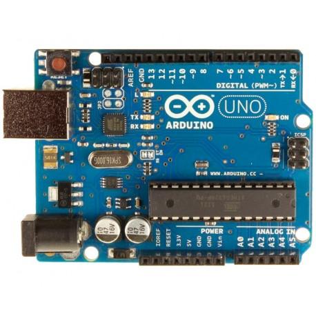 Arduino UNO R3 con Cable USB 3 LEDs RGB y 10 Resistencias