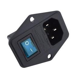 Zócalo Fuente de Poder Conector C14 con Porta Fusible e Interrutor