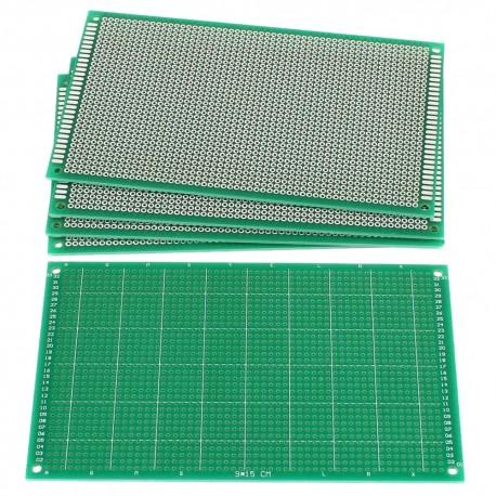 Placa PCB Perforada FR4 Una Faz Verde Tamaño 9x15cm