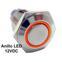 Pulsador 16mm Metálico con Anillo Indicador de Luz LED 12V Colores