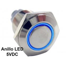 Pulsador 16mm Metálico 5V con Anillo Indicador de Luz LED Color