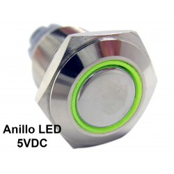 Interruptor 16mm Metálico 5V con Anillo Indicador de Luz LED Color