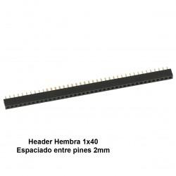 Pines Headers Hembra 40 Pines 1 Fila Separación de 2mm Compatible XBee